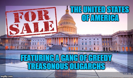 Monetizing Democracy  | THE UNITED STATES OF AMERICA FEATURING A GANG OF GREEDY TREASONOUS OLIGARCHS | image tagged in fraud,money laundering,rico | made w/ Imgflip meme maker
