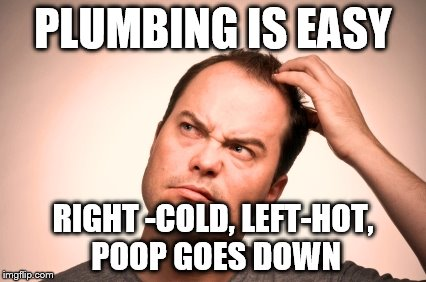 puzzled man | PLUMBING IS EASY RIGHT -COLD, LEFT-HOT, POOP GOES DOWN | image tagged in puzzled man | made w/ Imgflip meme maker