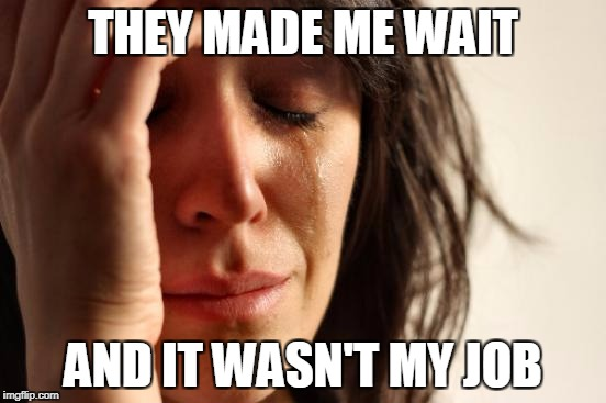 First World Problems Meme | THEY MADE ME WAIT AND IT WASN'T MY JOB | image tagged in memes,first world problems | made w/ Imgflip meme maker