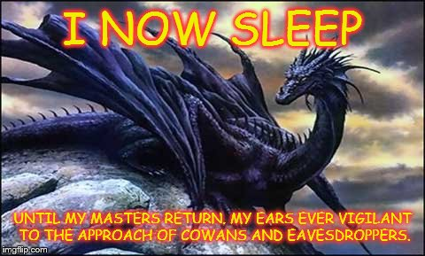 I NOW SLEEP UNTIL MY MASTERS RETURN. MY EARS EVER VIGILANT TO THE APPROACH OF COWANS AND EAVESDROPPERS. | image tagged in sitting dragon,red dragon,farewell my king | made w/ Imgflip meme maker