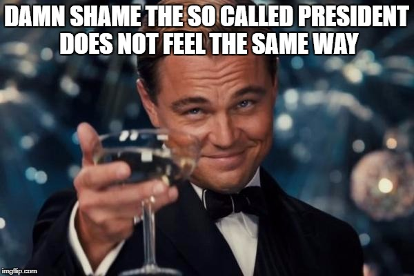 Leonardo Dicaprio Cheers Meme | DAMN SHAME THE SO CALLED PRESIDENT DOES NOT FEEL THE SAME WAY | image tagged in memes,leonardo dicaprio cheers | made w/ Imgflip meme maker