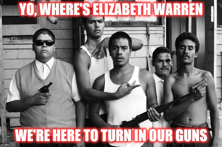 The logic of a few...... | YO, WHERE'S ELIZABETH WARREN WE'RE HERE TO TURN IN OUR GUNS | image tagged in elizabeth warren,gun control,second amendment | made w/ Imgflip meme maker