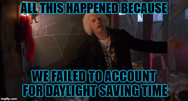 ALL THIS HAPPENED BECAUSE WE FAILED TO ACCOUNT FOR DAYLIGHT SAVING TIME | made w/ Imgflip meme maker