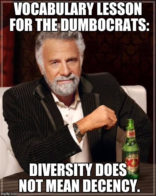 Support Dictionaries for Democrats United. Won't you please help a Democrat learn English today? | VOCABULARY LESSON FOR THE DUMBOCRATS: DIVERSITY DOES NOT MEAN DECENCY. | image tagged in memes,the most interesting man in the world,democrats,diversity,american politics | made w/ Imgflip meme maker