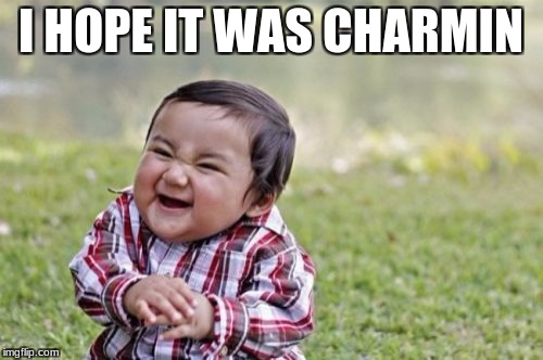 Evil Toddler Meme | I HOPE IT WAS CHARMIN | image tagged in memes,evil toddler | made w/ Imgflip meme maker
