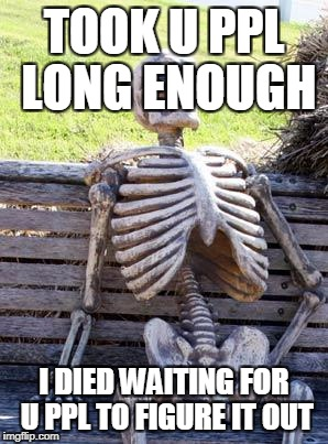 Waiting Skeleton Meme | TOOK U PPL LONG ENOUGH I DIED WAITING FOR U PPL TO FIGURE IT OUT | image tagged in memes,waiting skeleton | made w/ Imgflip meme maker