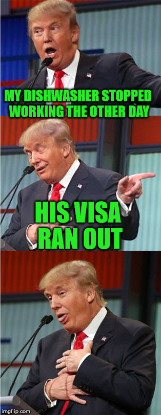 Too soon? | MY DISHWASHER STOPPED WORKING THE OTHER DAY HIS VISA RAN OUT | image tagged in bad pun trump,memes,trump,dishwasher,visa,ran out | made w/ Imgflip meme maker