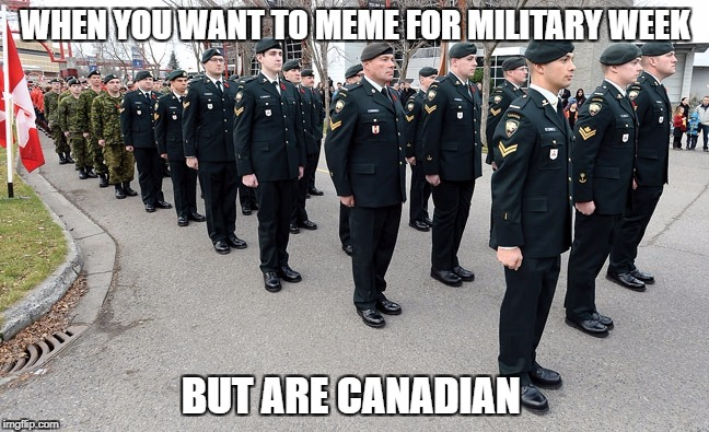 But you Canadian | WHEN YOU WANT TO MEME FOR MILITARY WEEK BUT ARE CANADIAN | image tagged in military week,memes | made w/ Imgflip meme maker