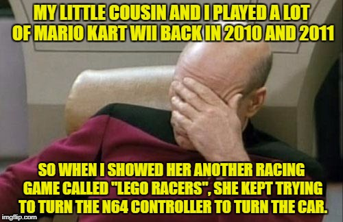 "No matter how many times I told her ""No, there are no motion controls in this controller, you have to use that little stick"" 