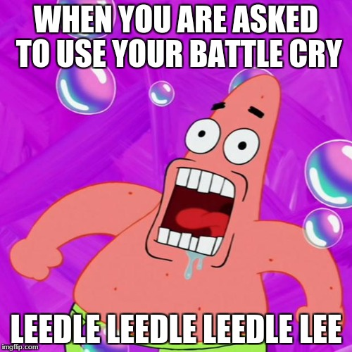 WHEN YOU ARE ASKED TO USE YOUR BATTLE CRY LEEDLE LEEDLE LEEDLE LEE | image tagged in patrick star nobody cares | made w/ Imgflip meme maker