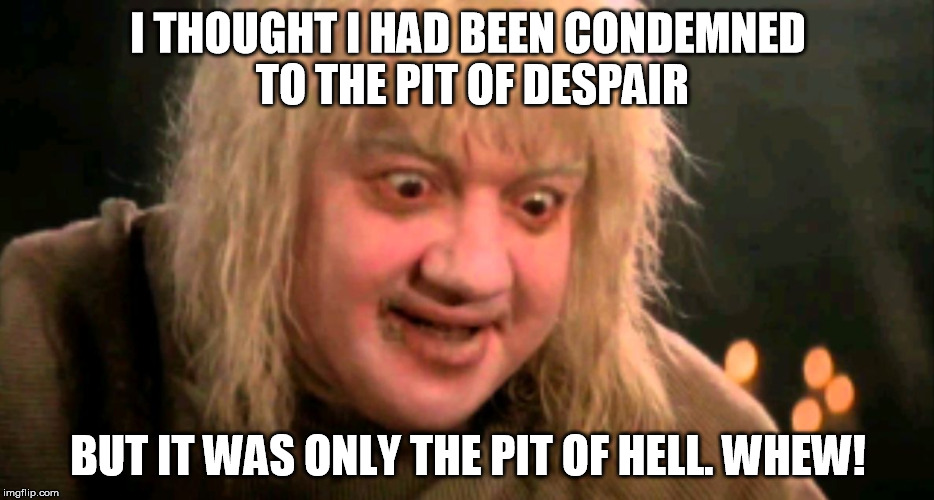 I THOUGHT I HAD BEEN CONDEMNED TO THE PIT OF DESPAIR BUT IT WAS ONLY THE PIT OF HELL. WHEW! | image tagged in pit of despair | made w/ Imgflip meme maker