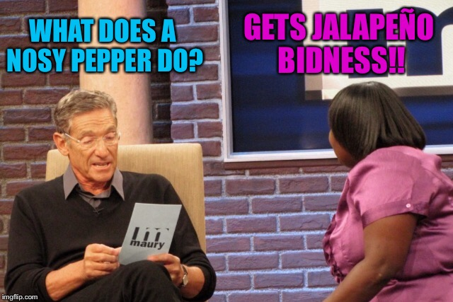 Bad Pun Maury And Guest | WHAT DOES A NOSY PEPPER DO? GETS JALAPEÑO BIDNESS!! | image tagged in maury povich,maury,hot,food,mind your own business | made w/ Imgflip meme maker