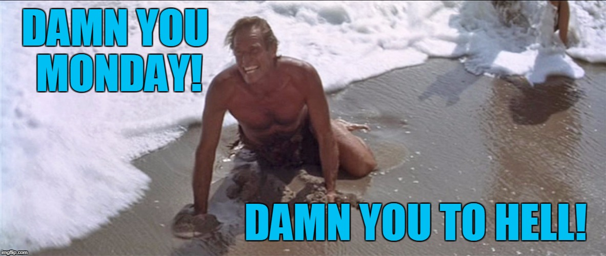 Damn you Monday | DAMN YOU MONDAY! DAMN YOU TO HELL! | image tagged in charlton heston damn you,memes | made w/ Imgflip meme maker
