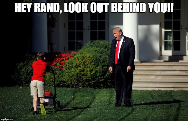 HEY RAND, LOOK OUT BEHIND YOU!! | image tagged in trump and lawnmower | made w/ Imgflip meme maker