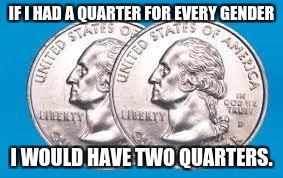 IF I HAD A QUARTER FOR EVERY GENDER I WOULD HAVE TWO QUARTERS. | image tagged in dead | made w/ Imgflip meme maker