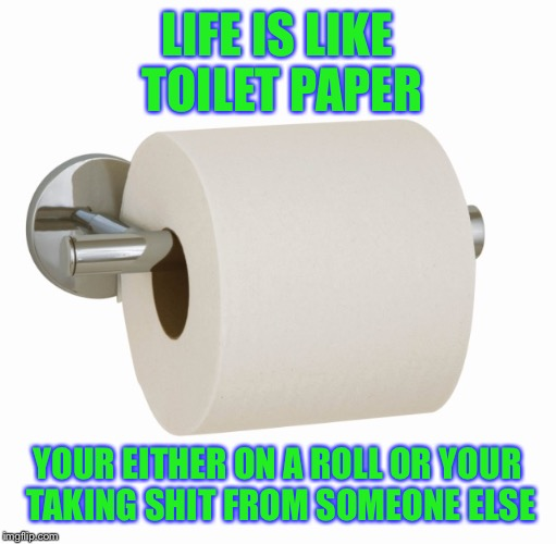 Life: | LIFE IS LIKE TOILET PAPER YOUR EITHER ON A ROLL OR YOUR TAKING SHIT FROM SOMEONE ELSE | image tagged in tp,bad pun,memes,funny,nsfw,perv | made w/ Imgflip meme maker