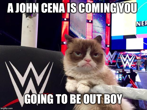 wwwe grumpy cat | A JOHN CENA IS COMING YOU GOING TO BE OUT BOY | image tagged in wwwe grumpy cat | made w/ Imgflip meme maker
