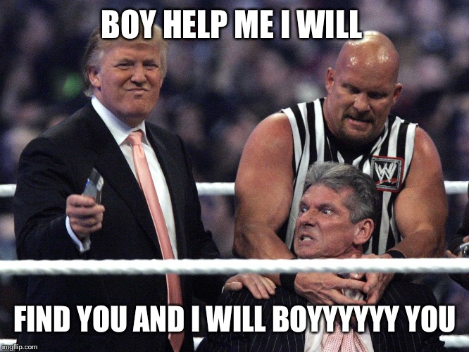 BOY HELP ME I WILL FIND YOU AND I WILL BOYYYYYY YOU | image tagged in trump wwe | made w/ Imgflip meme maker