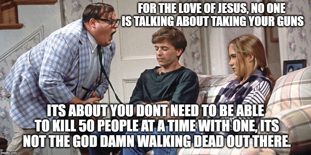 FOR THE LOVE OF JESUS, NO ONE IS TALKING ABOUT TAKING YOUR GUNS ITS ABOUT YOU DONT NEED TO BE ABLE TO KILL 50 PEOPLE AT A TIME WITH ONE, ITS | image tagged in chris farley | made w/ Imgflip meme maker