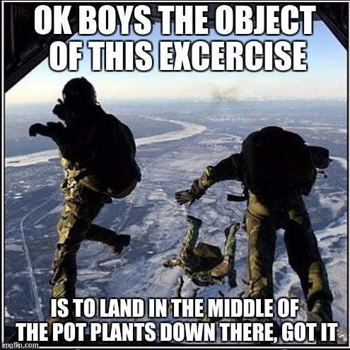 OK BOYS THE OBJECT OF THIS EXCERCISE IS TO LAND IN THE MIDDLE OF THE POT PLANTS DOWN THERE, GOT IT | made w/ Imgflip meme maker