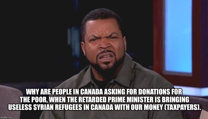 For Real bruh? | WHY ARE PEOPLE IN CANADA ASKING FOR DONATIONS FOR THE POOR, WHEN THE RETARDED PRIME MINISTER IS BRINGING USELESS SYRIAN REFUGEES IN CANADA W | image tagged in for real bruh | made w/ Imgflip meme maker