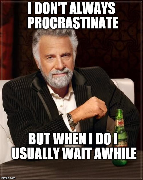 The Most Interesting Man In The World Meme | I DON'T ALWAYS PROCRASTINATE BUT WHEN I DO I USUALLY WAIT AWHILE | image tagged in memes,the most interesting man in the world | made w/ Imgflip meme maker