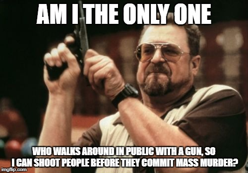 Am I The Only One Around Here Meme | AM I THE ONLY ONE WHO WALKS AROUND IN PUBLIC WITH A GUN, SO I CAN SHOOT PEOPLE BEFORE THEY COMMIT MASS MURDER? | image tagged in memes,am i the only one around here | made w/ Imgflip meme maker
