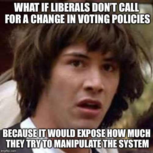 Conspiracy Keanu Meme | WHAT IF LIBERALS DON'T CALL FOR A CHANGE IN VOTING POLICIES BECAUSE IT WOULD EXPOSE HOW MUCH THEY TRY TO MANIPULATE THE SYSTEM | image tagged in memes,conspiracy keanu | made w/ Imgflip meme maker