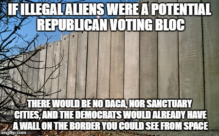IF ILLEGAL ALIENS WERE A POTENTIAL REPUBLICAN VOTING BLOC THERE WOULD BE NO DACA, NOR SANCTUARY CITIES, AND THE DEMOCRATS WOULD ALREADY HAVE | image tagged in democrats,democratic party,illegal aliens,illegal immigration | made w/ Imgflip meme maker