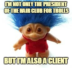 Getting Down to the Roots of the Problem | I'M NOT ONLY THE PRESIDENT OF THE HAIR CLUB FOR TROLLS BUT I'M ALSO A CLIENT | image tagged in troll,memes,hair club for men,sy sperling,television,80s | made w/ Imgflip meme maker