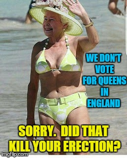 WE DON'T VOTE FOR QUEENS IN ENGLAND SORRY.  DID THAT KILL YOUR ERECTION? | made w/ Imgflip meme maker