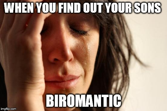 First World Problems Meme | WHEN YOU FIND OUT YOUR SONS BIROMANTIC | image tagged in memes,first world problems,sad times,crying,no god,biromantic | made w/ Imgflip meme maker