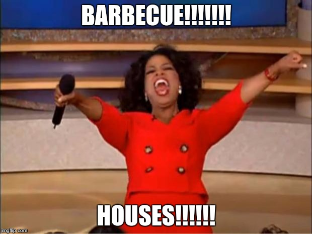 BARBECUE!!!!!!! HOUSES!!!!!! | image tagged in memes,oprah you get a | made w/ Imgflip meme maker
