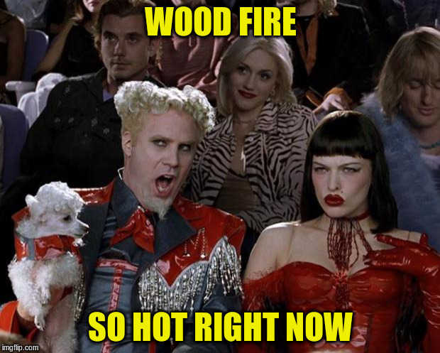 Mugatu So Hot Right Now Meme | WOOD FIRE SO HOT RIGHT NOW | image tagged in memes,mugatu so hot right now | made w/ Imgflip meme maker