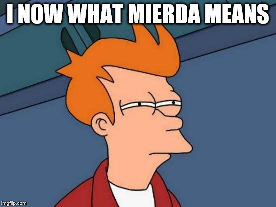 Futurama Fry Meme | I NOW WHAT MIERDA MEANS | image tagged in memes,futurama fry | made w/ Imgflip meme maker