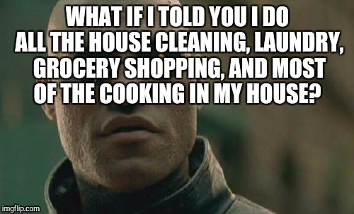 Matrix Morpheus Meme | WHAT IF I TOLD YOU I DO ALL THE HOUSE CLEANING, LAUNDRY, GROCERY SHOPPING, AND MOST OF THE COOKING IN MY HOUSE? | image tagged in memes,matrix morpheus | made w/ Imgflip meme maker