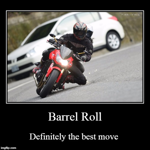 Bean's demotivationals | Barrel Roll | Definitely the best move | image tagged in funny,demotivationals | made w/ Imgflip demotivational maker