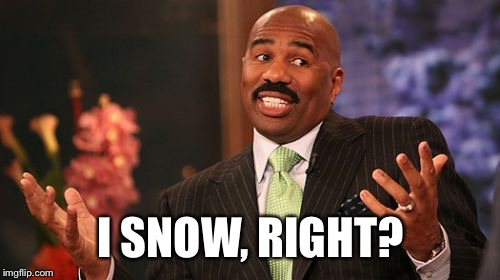 Steve Harvey Meme | I SNOW, RIGHT? | image tagged in memes,steve harvey | made w/ Imgflip meme maker
