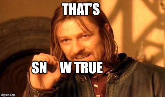 One Does Not Simply Meme | THAT'S SN     W TRUE | image tagged in memes,one does not simply | made w/ Imgflip meme maker