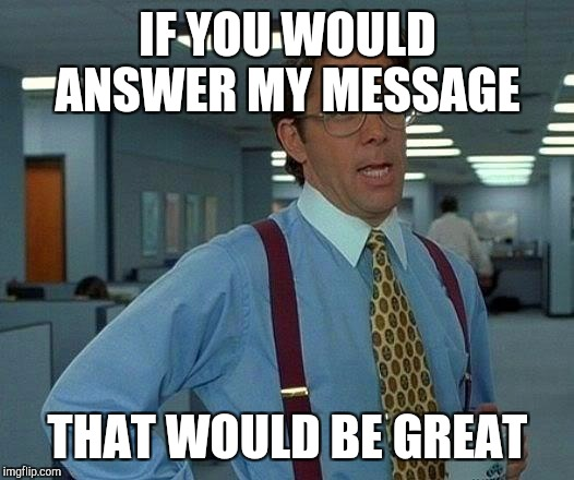 That Would Be Great Meme | IF YOU WOULD ANSWER MY MESSAGE THAT WOULD BE GREAT | image tagged in memes,that would be great | made w/ Imgflip meme maker