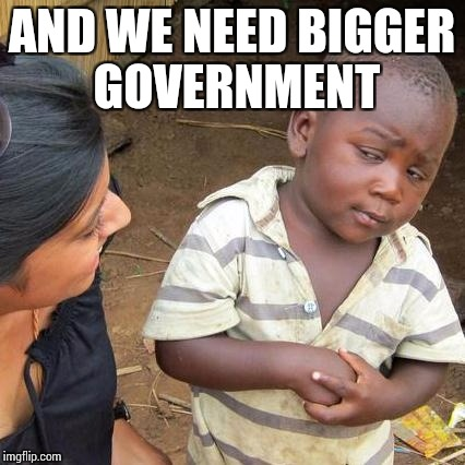Third World Skeptical Kid Meme | AND WE NEED BIGGER GOVERNMENT | image tagged in memes,third world skeptical kid | made w/ Imgflip meme maker