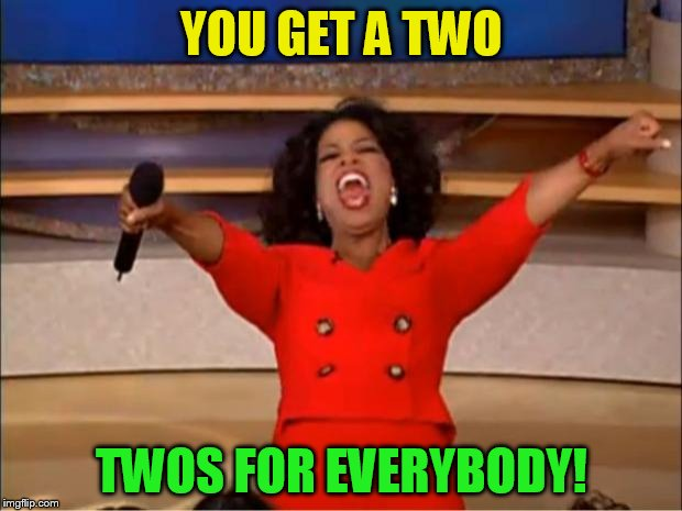 Oprah You Get A Meme | YOU GET A TWO TWOS FOR EVERYBODY! | image tagged in memes,oprah you get a | made w/ Imgflip meme maker
