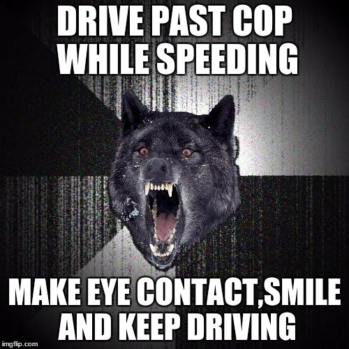 Insanity Wolf Meme | DRIVE PAST COP WHILE SPEEDING MAKE EYE CONTACT,SMILE AND KEEP DRIVING | image tagged in memes,insanity wolf | made w/ Imgflip meme maker