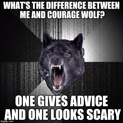 Insanity Wolf Meme | WHAT'S THE DIFFERENCE BETWEEN ME AND COURAGE WOLF? ONE GIVES ADVICE AND ONE LOOKS SCARY | image tagged in memes,insanity wolf | made w/ Imgflip meme maker