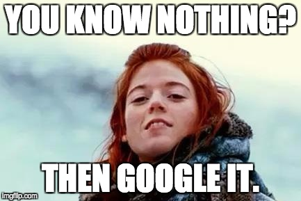 You know nothing | YOU KNOW NOTHING? THEN GOOGLE IT. | image tagged in you know nothing | made w/ Imgflip meme maker
