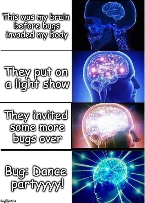Expanding Brain Meme | This was my brain before bugs invaded my body They put on a light show They invited some more bugs over Bug: Dance partyyyy! | image tagged in memes,expanding brain | made w/ Imgflip meme maker