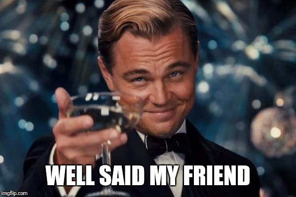 Leonardo Dicaprio Cheers Meme | WELL SAID MY FRIEND | image tagged in memes,leonardo dicaprio cheers | made w/ Imgflip meme maker