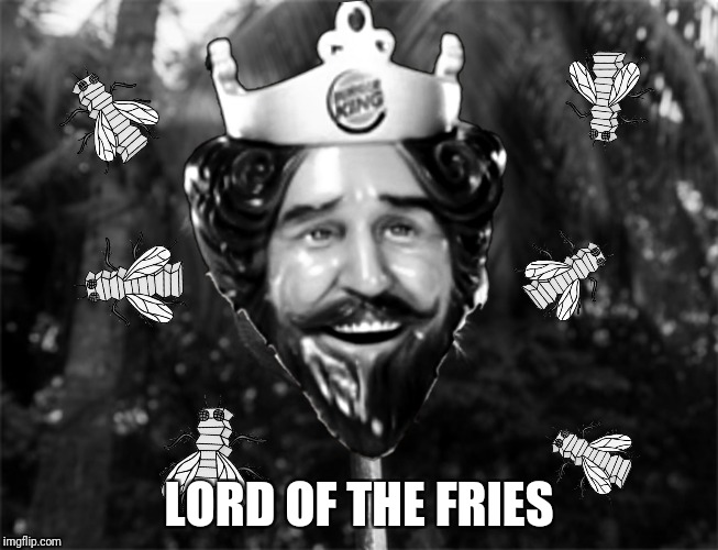 Unable to kill a wild boar the boys settle for the next best quarry | LORD OF THE FRIES | image tagged in lord of the flies,burger king,lord of the fries | made w/ Imgflip meme maker