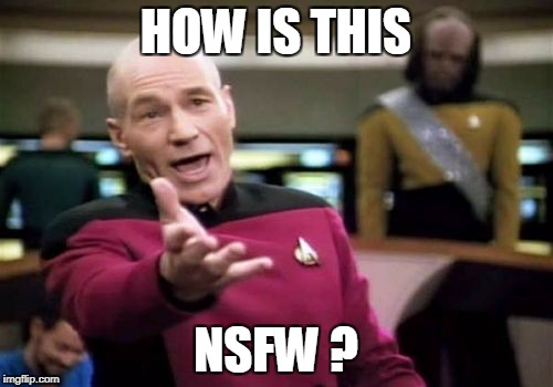 Picard Wtf Meme | HOW IS THIS NSFW ? | image tagged in memes,picard wtf | made w/ Imgflip meme maker