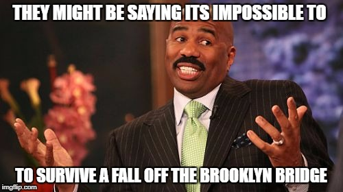 Steve Harvey Meme | THEY MIGHT BE SAYING ITS IMPOSSIBLE TO TO SURVIVE A FALL OFF THE BROOKLYN BRIDGE | image tagged in memes,steve harvey | made w/ Imgflip meme maker